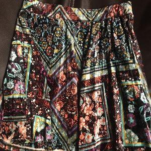 Girls crushed velvet pleated skirt